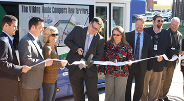 Local officials lend a hand at the Viking Route launch ceremony on October 22.
