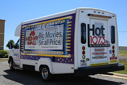 Advertisers like Midway Mall and radio station Hot 107.3 use TAPS transit advertising to reach thousands of consumers.